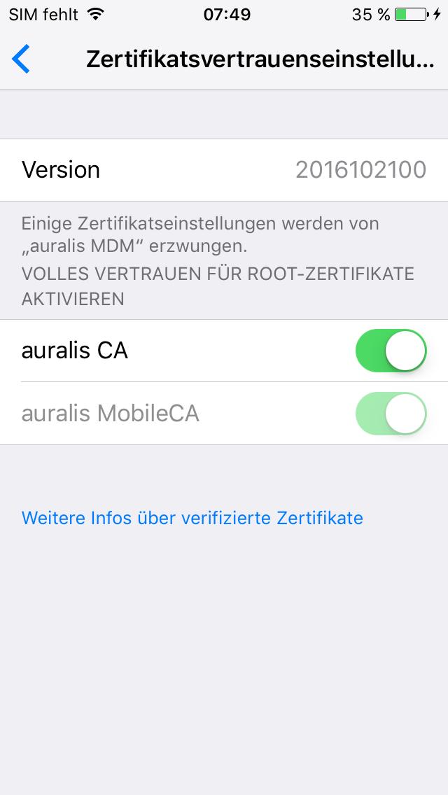 Erweiterte Zertifikatssicherheit unter iOS 10.3 - auralis